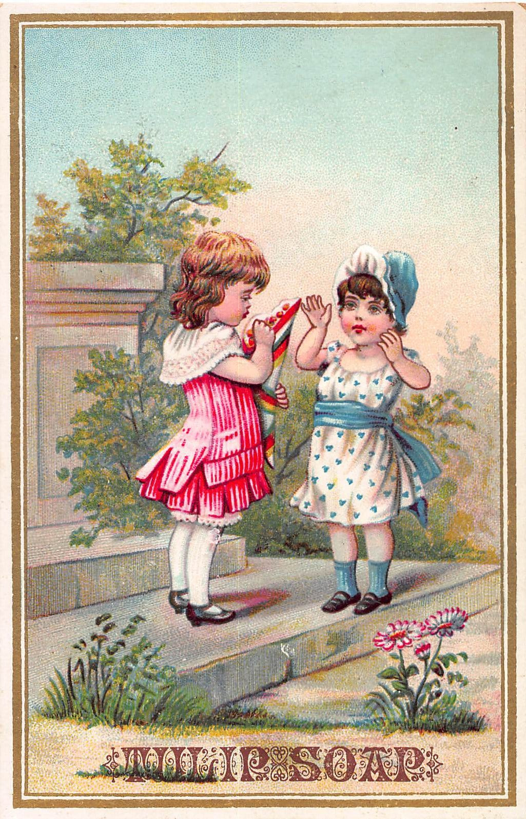 Tulip Soap, 19th Century Embossed Trade Card, Size:  133 mm. x 88 mm.