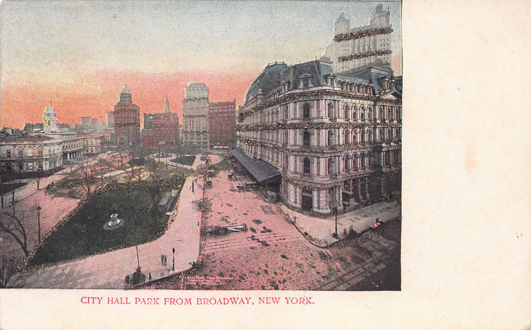 City Hall Park from Broadway, Manhattan, New York City, N.Y., early postcard, unused