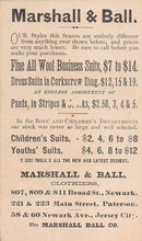 Load image into Gallery viewer, Marshall & Ball, Clothiers, 19th Century Trade Card, Size:  115 mm. x 68 mm.