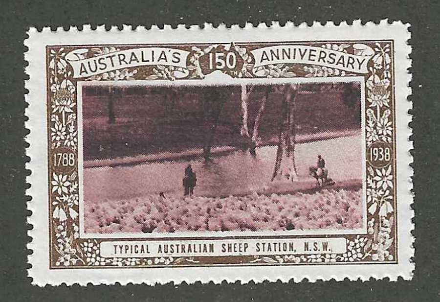 Typical Australian Sheep Station, N.S.W., Australia's 150th Anniversary, 1938, Poster Stamp