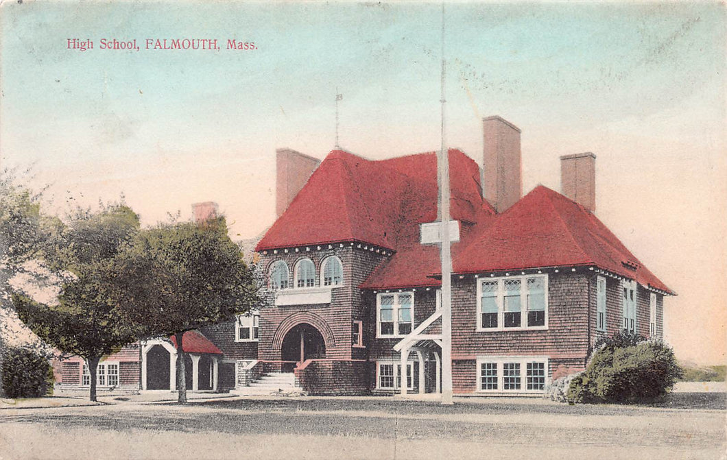 High School, Falmouth, Massachusetts, early hand colored postcard, used in 1908