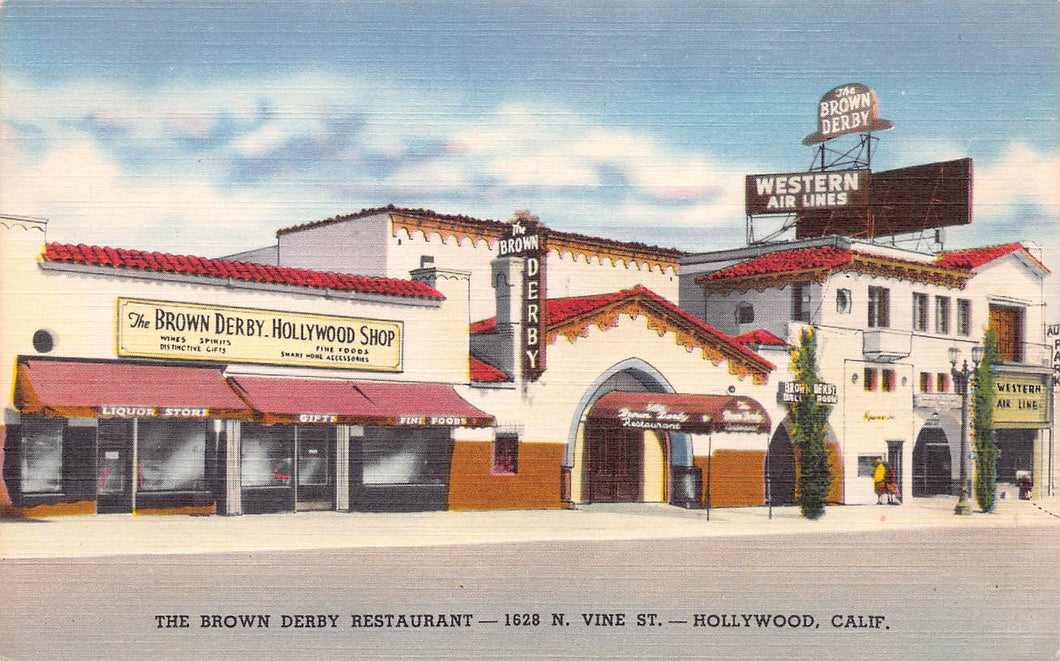 The Brown Derby Restaurant, Hollywood, California, early linen postcard, unused