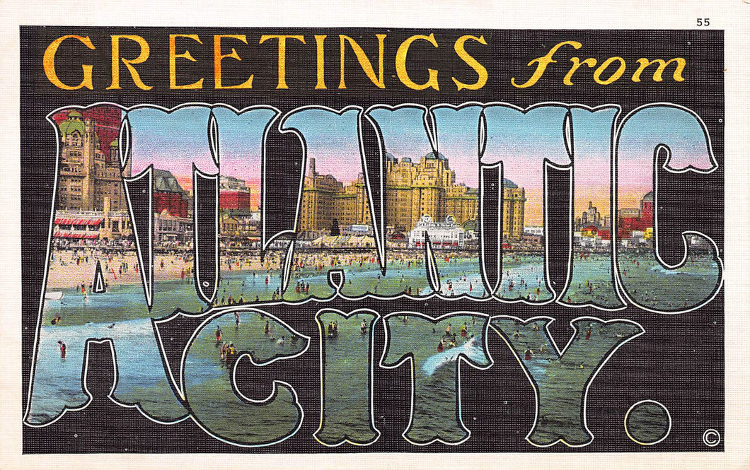 Greetings from Atlantic City, New Jersey, early linen postcard, unused