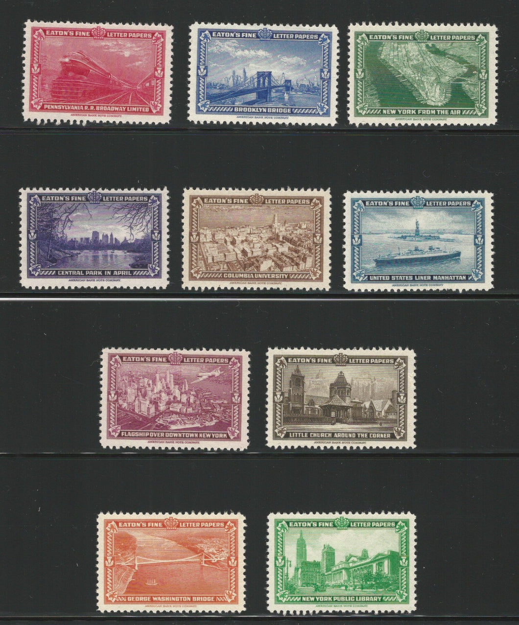 New York City Scenes, Set of 10 Eaton's Fine Letter Papers, 1939 Poster Stamps