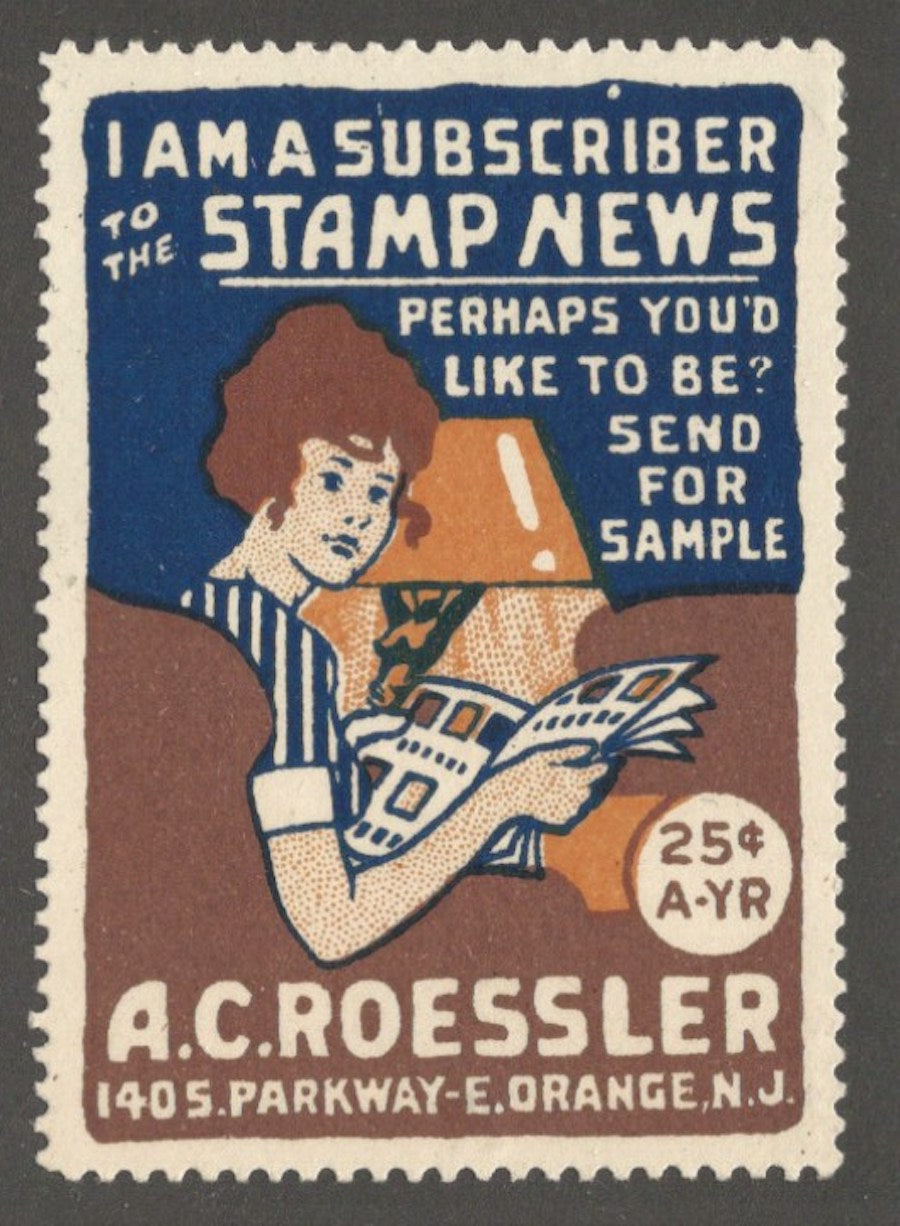 Stamp News, A.C. Roessler, East Orange, N.J., Poster Stamp