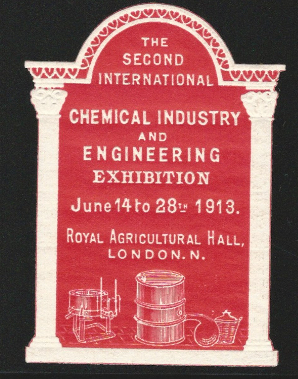 2nd International Chemical Industry and Engineering Exhibition 1913, London, England, Poster Stamp