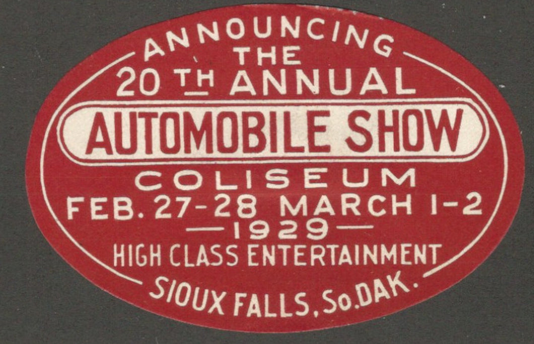 20th Automobile Show, Coliseum, Sioux Falls, South Dakota, 1929, Poster Stamp