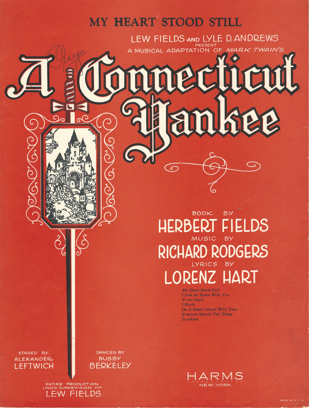 My Heart Stood Still, from Mark Twain's: A Connecticut Yankee, 1927 Sheet Music