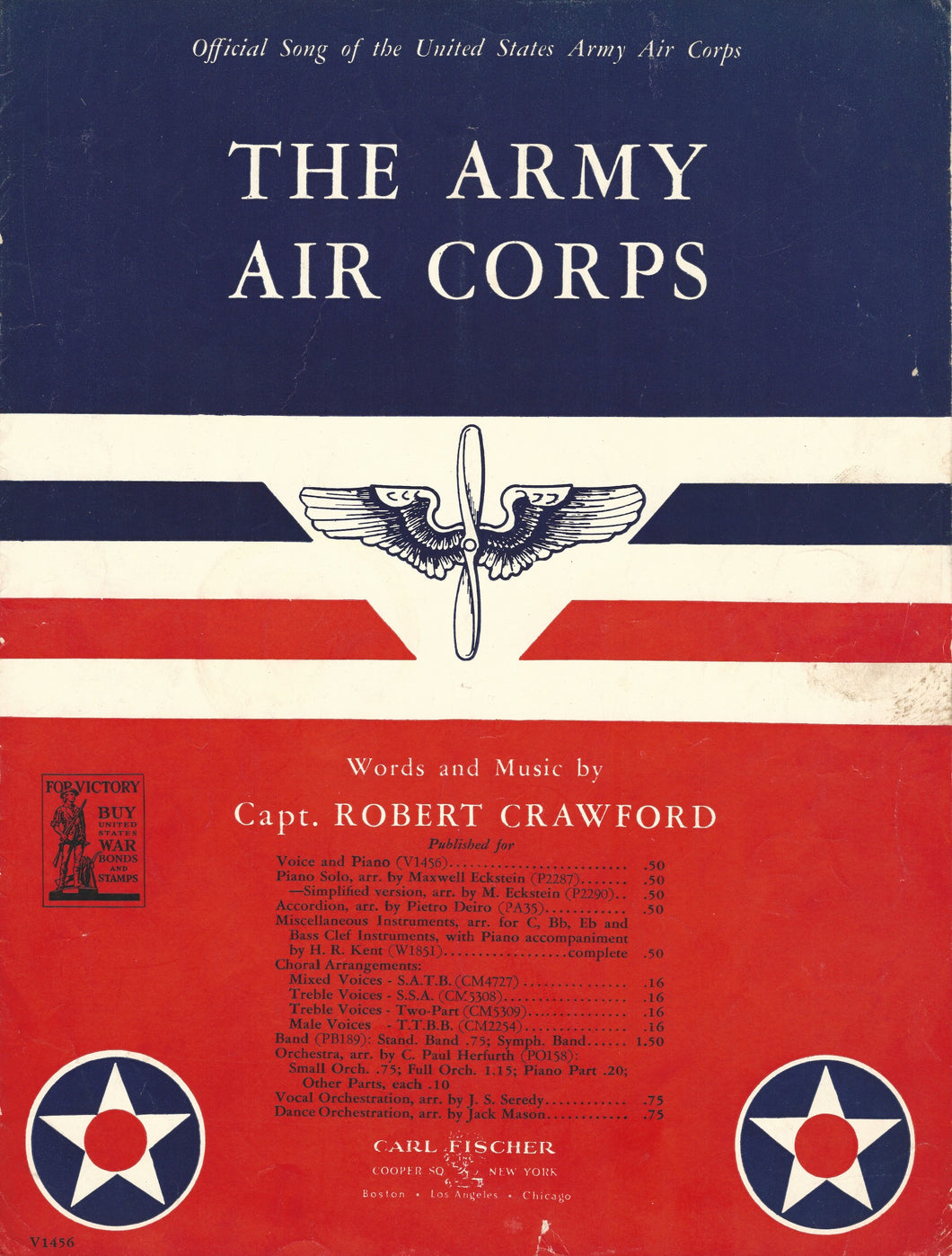 The Army Air Corps, words & music by Captain Robert Crawford, 1942, Sheet Music