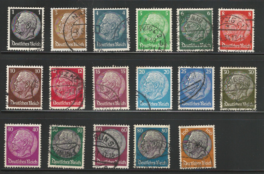 Germany, 1933-1936, Scott #415-431 used, Hindenburg, Complete Set, Very Fine