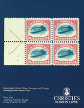 Load image into Gallery viewer, Important United States Stamps and Covers including the Weill Brothers Stock, Christie's Robson Lowe, Oct. 25-26, 1990