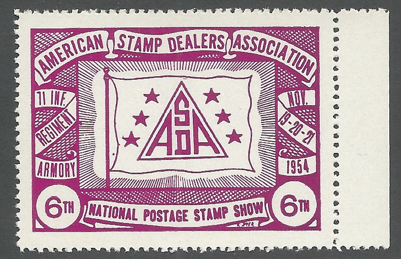 A.S.D.A., 1954 National Postage Stamp Show, Philatelic Exhibition, Manhattan, New York City, Poster Stamp