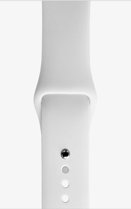 Silicon White sports strap for Apple watch.