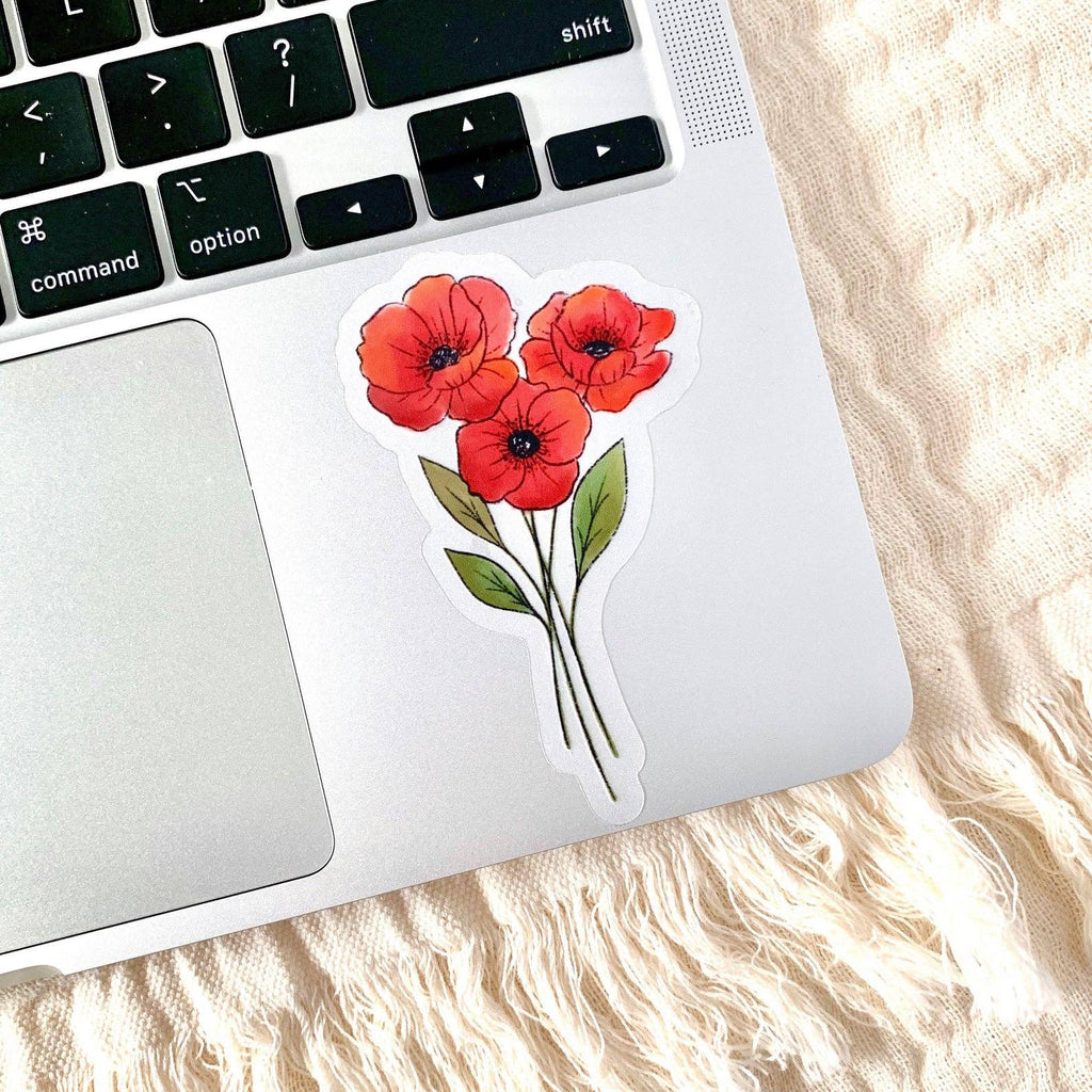 Clear Red Poppies Bouquet Sticker 4x3 in.
