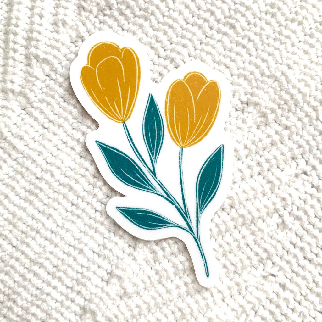Yellow and Blue Tulips Sticker 3x3in.