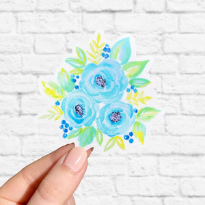 Blue Watercolor Flower Bouquet Sticker 3x3in.