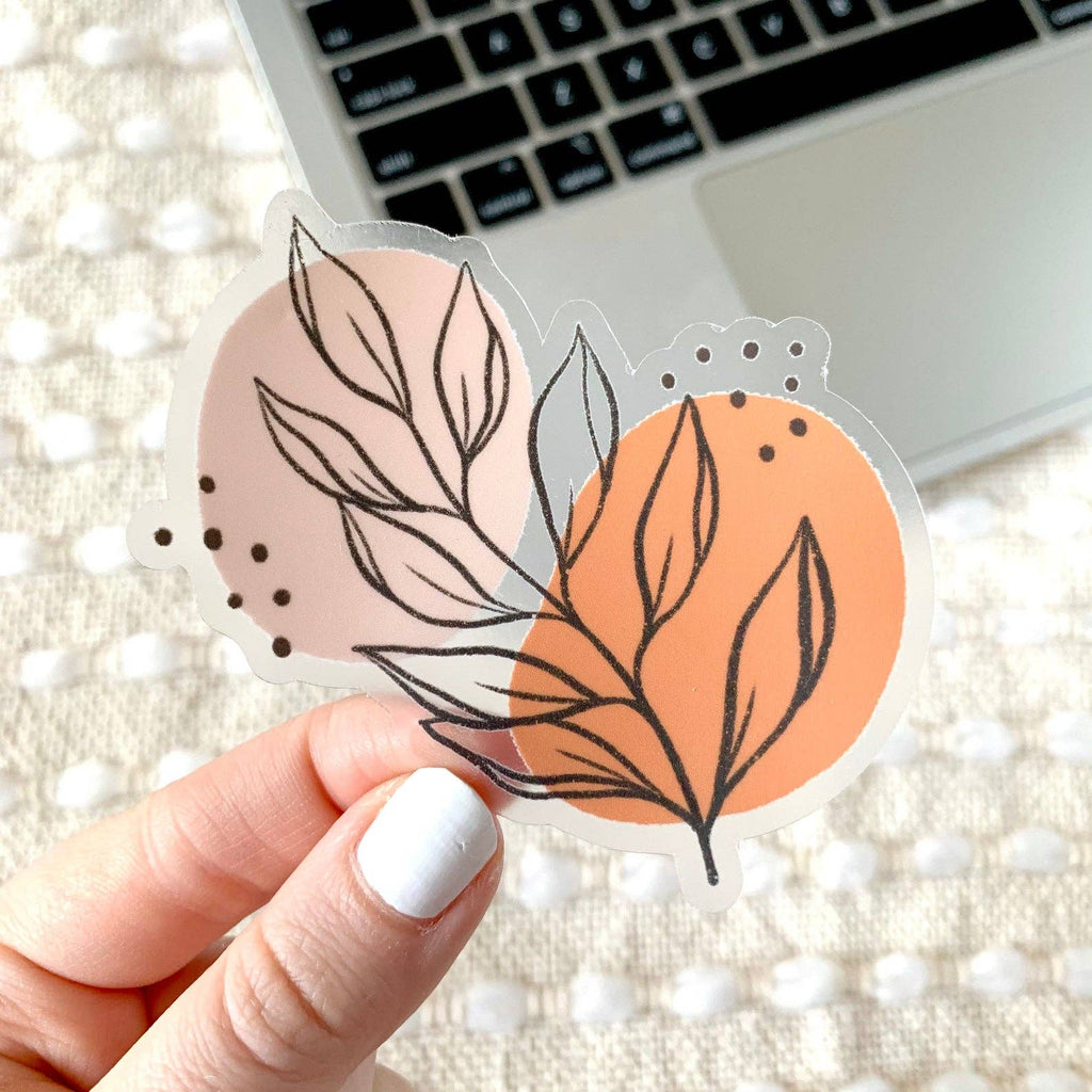 Clear Pink Leaves Sticker, 3x3in.