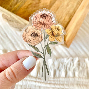 Clear Daffodil and Chrysanthemum Sticker, 3x2in.