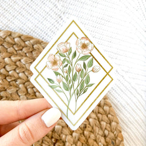Wildflower Diamonds Bouquet Sticker, 3.5x3in. Vinyl Sticker