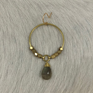 Medium Hoop with Brass Beads and Stone Earring