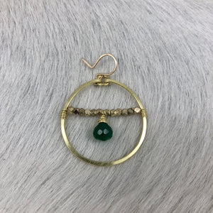 Medium Hoop with Brass Beads and Stone