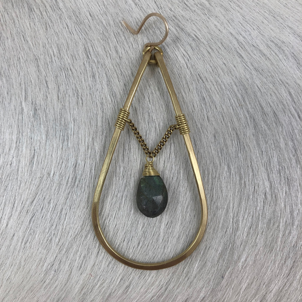 Teardrop with Stones and Chain Earring