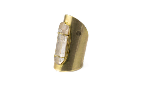 Large Quartz Shield Ring