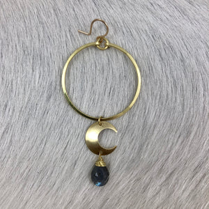 Small Moon with Stone Medium Hoop Long Earring