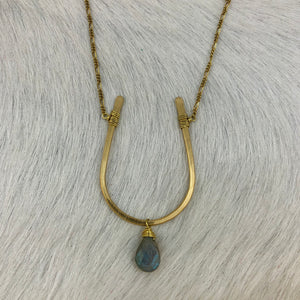 Large Horseshoe and Stone Long Necklace