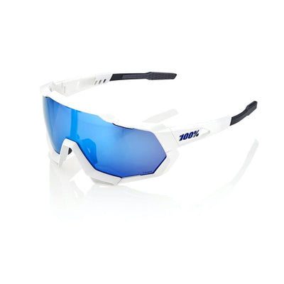 100% Speedtrap - Matte White - HiPER Blue Multilayer Mirror Lens