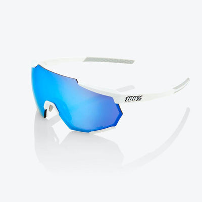 100% Racetrap - Matte White - HiPer Blue Multilayer Lens