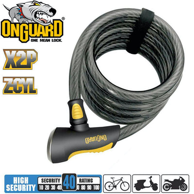 OnGuard Doberman Coiled Key Lock - 185cm x 12mm