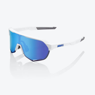 100% S2 Sunglasses - Matte White - HiPER Blue Multilayer Mirror Lens