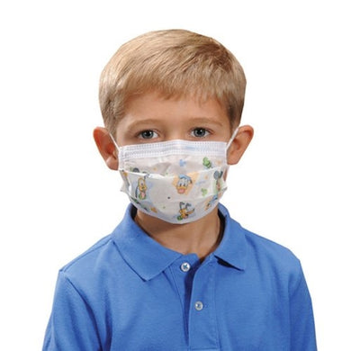 Image of a child model wearing a face mask that features Disney® characters, like Donald Duck, Pluto, Goofy, and more.