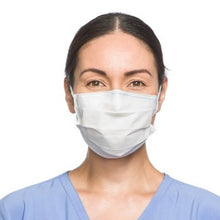 Load image into Gallery viewer, Image of model wearing a white Level 1 procedure mask with ear loops.