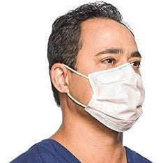 Image of a model wearing an orange pleated Level 3 procedure mask.