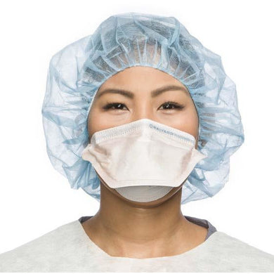 Image of a model wearing an orange duckbill N95 mask with dual elastic headbands.