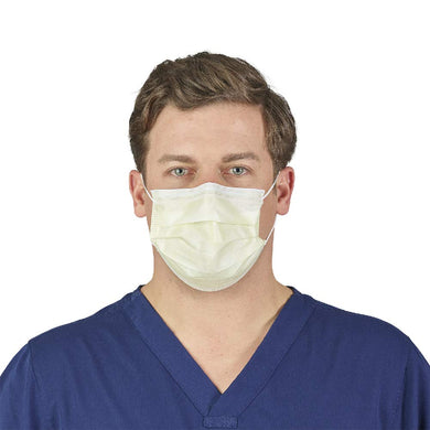 Image of model wearing a yellow pleated Level 1 procedure mask.