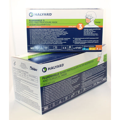 Image of product boxes for N95 masks and Level 3 procedure masks from Halyard.