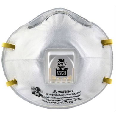 Image of a white N95 mask with yellow headbands and an exhalation valve on the center.