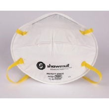 Load image into Gallery viewer, Image of a white N95 mask with yellow elastic head straps.