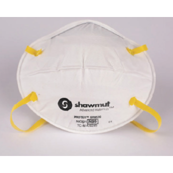 Image of a white N95 mask with yellow elastic head straps.