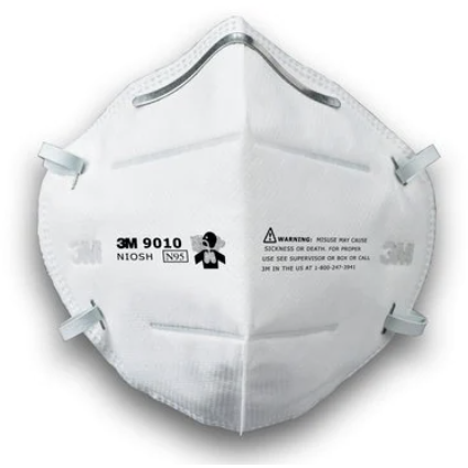 Image of a white, foldable N95 mask with two white headbands and a silver nose piece.