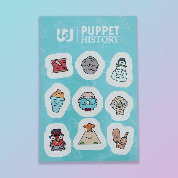 Puppet History Season 2 Character Sticker Sheet - Limited Edition