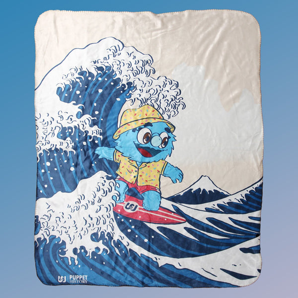 "Puppet History The Great Wave Sherpa Blanket (50""x60"")"