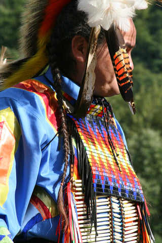 Native American Indian chief in full ceremonial costume