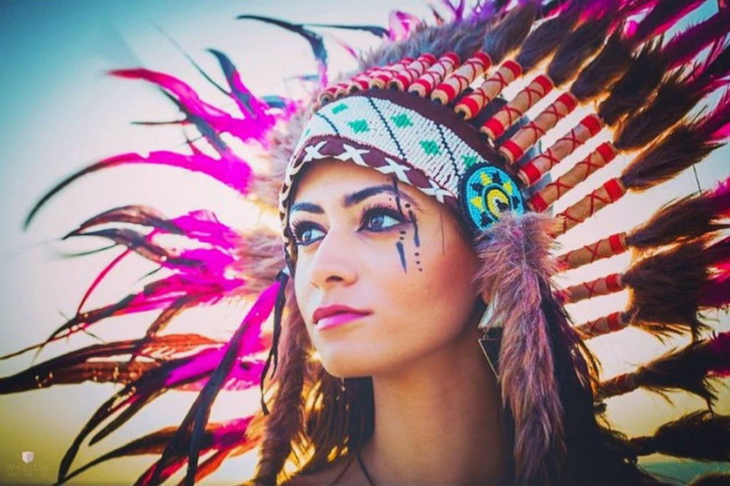 Pink Native American Headdress - 75cm