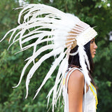 White Native American Headdress With Shells - 75cm