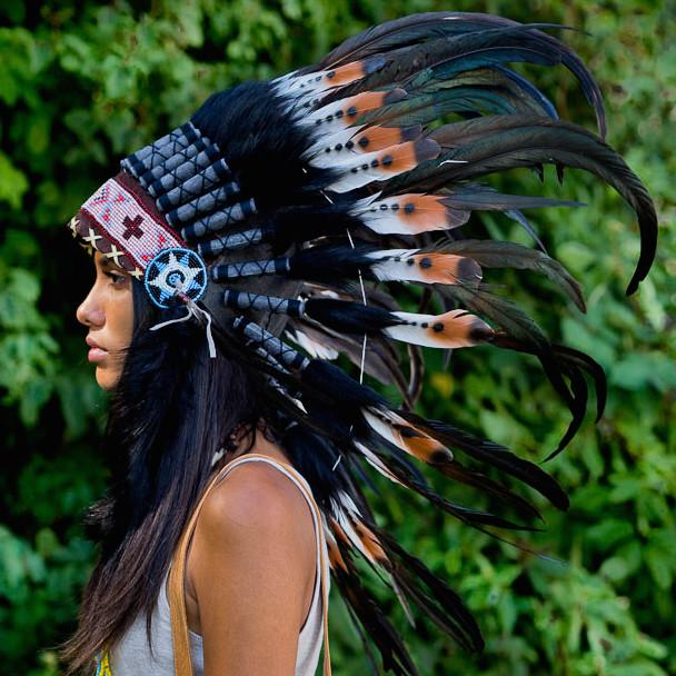 Brown Tips Chief Headdress - 75cm