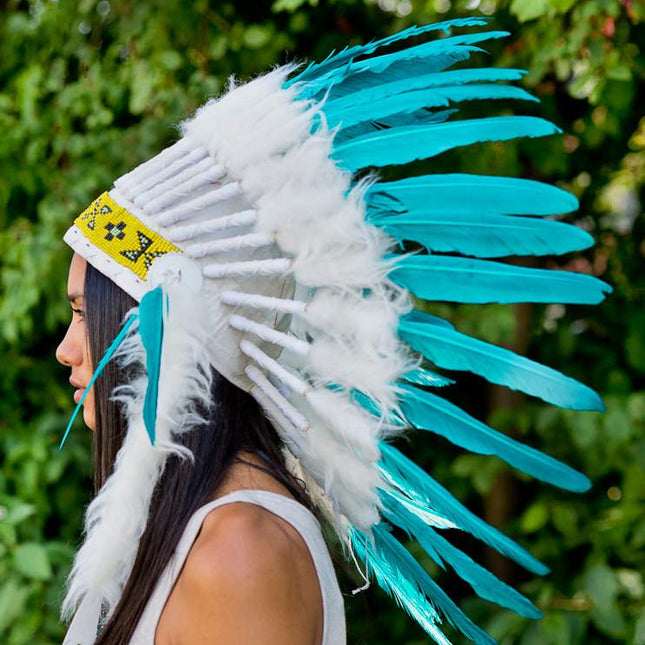 White-Aqua Chief Headdress - 65cm